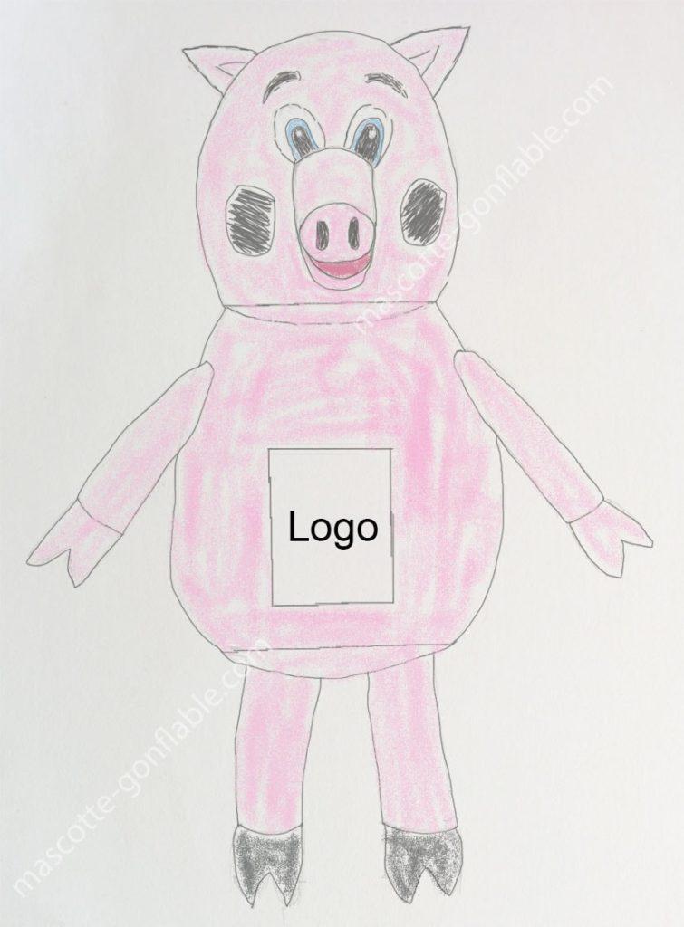 mascotte gonflable sur mesure croquis cochon