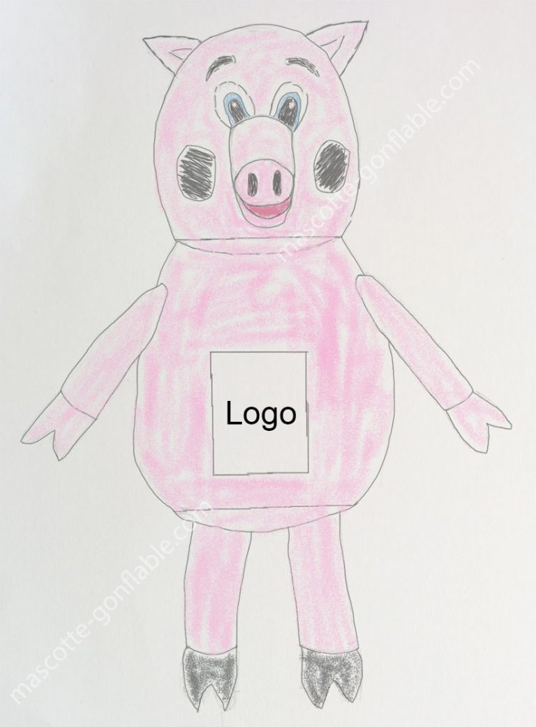 [:fr]mascotte gonflable sur mesure croquis cochon[:en]custom pig inflatable mascot costume drawing[:]